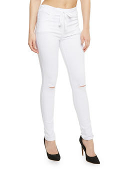Stretch Knit Pants with Slashed Knees - WHITE - 3407062708091