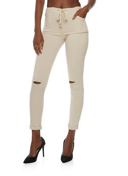 Stretch Knit Pants with Slashed Knees - 3407062708091