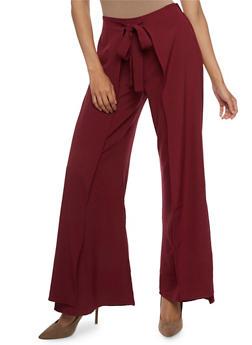 Crepe Knit Wrap Front Palazzo Pants - 3407062708095