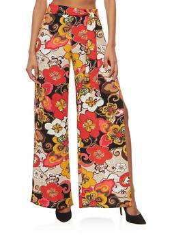 Crepe Knit Floral Palazzo Pants - 3407068510186
