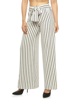 Striped Palazzo Pants with Open Sides - 3407068511537