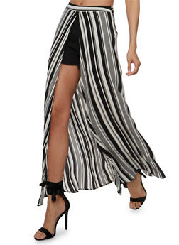 Crepe Knit Shorts with Striped Maxi Skirt Overlay - 3407068512502