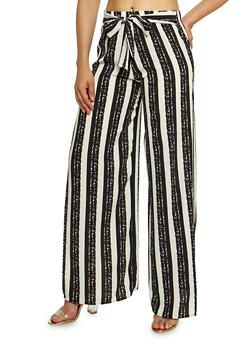 Wide Striped Crepe Knit Palazzo Pants - 3407068513403