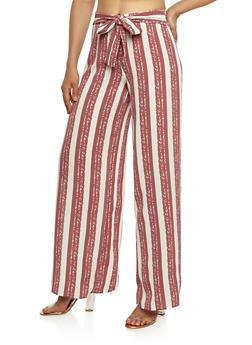 Wide Striped Crepe Knit Palazzo Pants - 3407068513403
