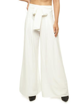 Pleated Palazzo Pants with Tie Waist - 3407069393002