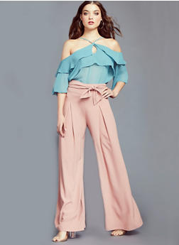 Pleated Palazzo Pants with Tie Waist - MAUVE - 3407069393002