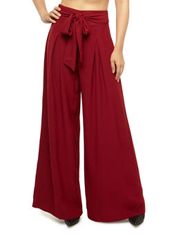 Pleated Palazzo Pants with Tie Waist - BURGUNDY - 3407069393002