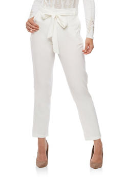 Belted Solid Pants - WHITE - 3407069393010