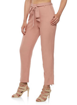 Belted Solid Pants - 3407069393010