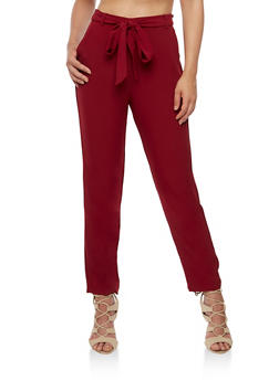 Belted Solid Pants - BURGUNDY - 3407069393010