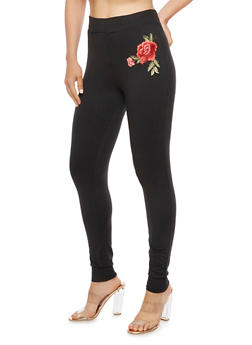 Solid Jogger Leggings with Rose Patch - 3407072240450