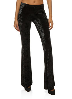Crushed Velvet Flared Pants - BLACK - 3407072243982