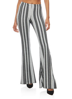 Soft Knit Striped Flared Pants - 3407072243983