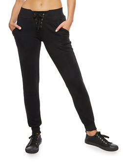Solid Lace Up Fleece Joggers - BLACK - 3407072291681