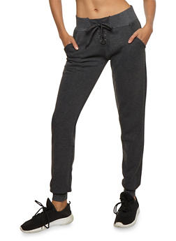 Solid Lace Up Fleece Joggers - CHARCOAL - 3407072291681