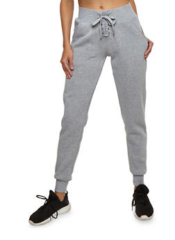 Solid Lace Up Fleece Joggers - HEATHER - 3407072291681