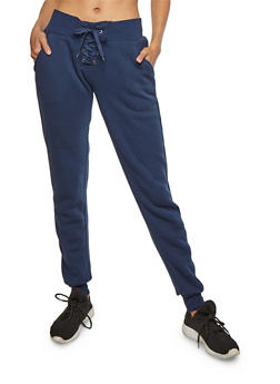 Solid Lace Up Fleece Joggers - NAVY - 3407072291681