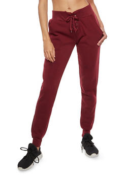 Solid Lace Up Fleece Joggers - BURGUNDY - 3407072291681