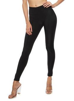 Wide Waist Pleated Leggings - 3407072291811