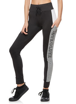 Love Graphic Color Block Skinny Joggers - 3407072298080