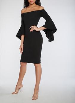 Off the Shoulder Bell Sleeve Dress - 3410015992510