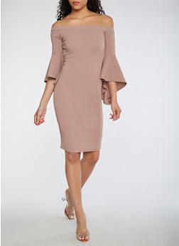 Off the Shoulder Bell Sleeve Dress - MAUVE - 3410015992510