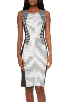 Sleeveless Bodycon Midi Dress with Geo Mirror Print,WHT-BLK,medium