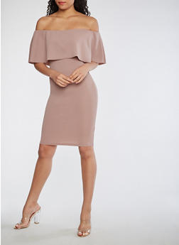 Off the Shoulder Bodycon Dress with Overlay - MAUVE - 3410015995390