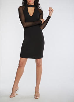 Mesh Sleeve Bodycon Dress - 3410015995720