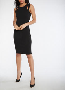 Textured Knit Bodycon Dress with Cutouts - 3410015996003