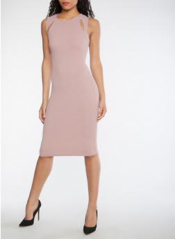 Textured Knit Bodycon Dress with Cutouts - DARK MAUVE - 3410015996003
