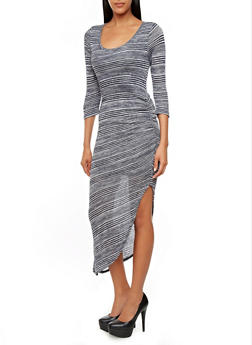Striped Knit 3/4 Sleeve Bodycon Dress With Ruched Side - 3410015996149