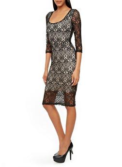 Crochet Overlay Short Sleeve Midi Dress,BLACK,medium