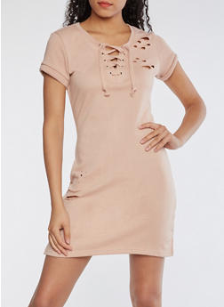 Laser Cut Sweatshirt Dress - DUSTY PINK - 3410015997061