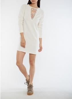 Lace Up Keyhole Sweater Dress - 3410015997109