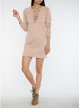 Lace Up Keyhole Sweater Dress - MAUVE - 3410015997109