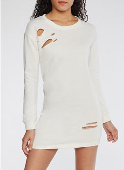 Distressed Sweatshirt Dress - 3410015997110