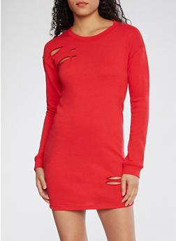 Distressed Sweatshirt Dress - 3410015997110