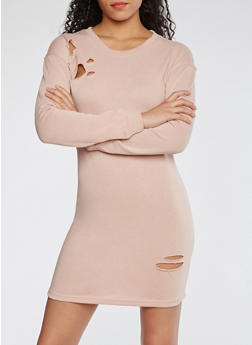 Distressed Sweatshirt Dress - DUSTY ROSE - 3410015997110