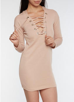 Hooded Lace Up Sweater Dress - MAUVE - 3410015997111