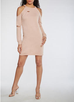 Cold Shoulder Sweatshirt Dress - MAUVE - 3410015997112