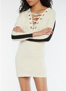 Lace Up Hooded Sweatshirt Dress - 3410015997114