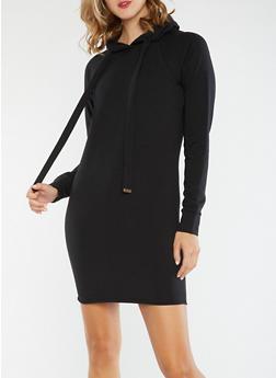 Hooded Sweater Dress - BLACK - 3410015997115