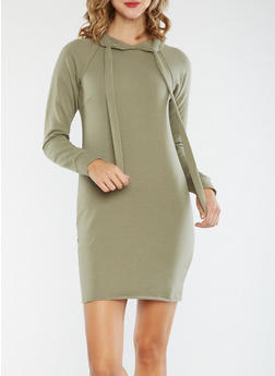 Hooded Sweater Dress - 3410015997115