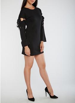 Detachable Tie Sleeve Dress - BLACK - 3410015997141