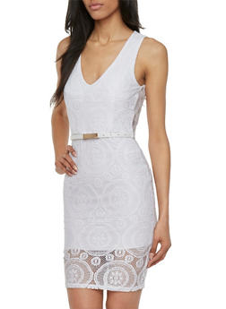 Almost Famous Crochet Dress with Removable Faux Leather Belt - 3410015998063