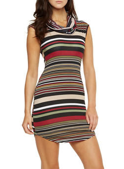Sleeveless Cowl Neck Dress in Stripes - 3410015998206