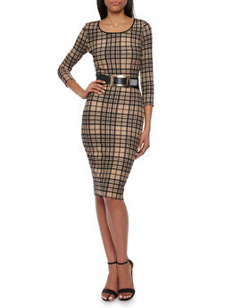 Almost Famous Plaid Midi Dress with Large Buckle Belt - 3410015998283