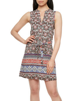Almost Famous Printed Dress with Belt - 3410015999135