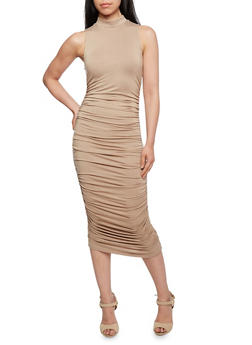 Almost Famous Dress with Side Ruching and Mock Neck - 3410015999300